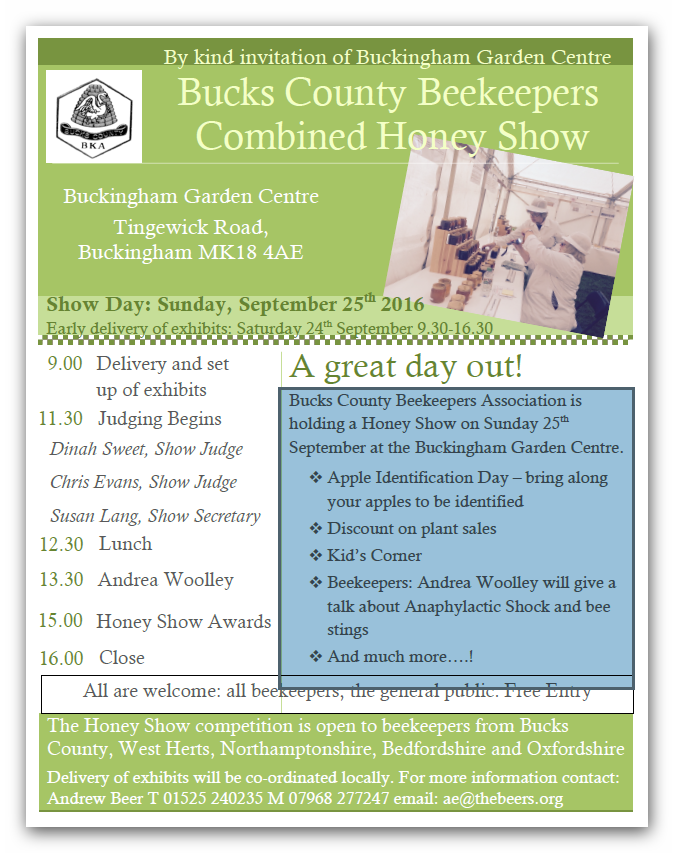 2016 Honey Show Flyer