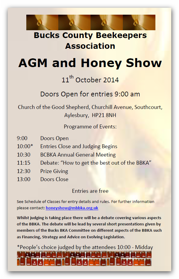 2014 AGM and Honey Show Poster